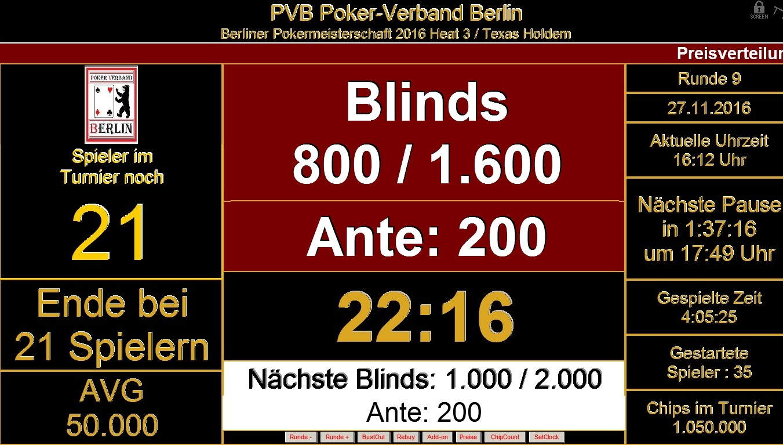 Berliner Pokermeisterschaft 2016 Heat 3 / Der Endstand