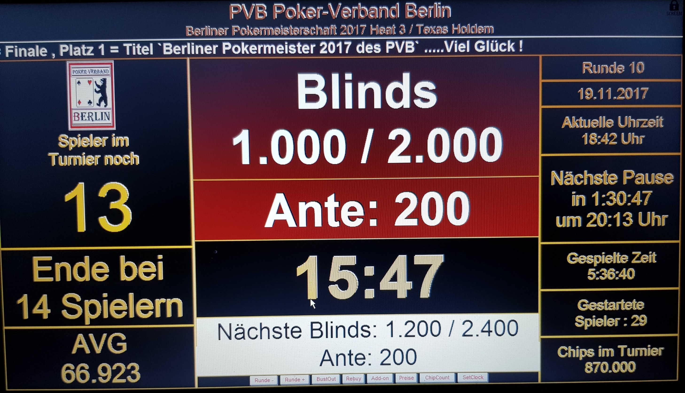 Ende PVB-Pokereinzelmeisterschaft 2017 Heat 3