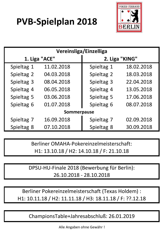 PVB-Spielplan 2018