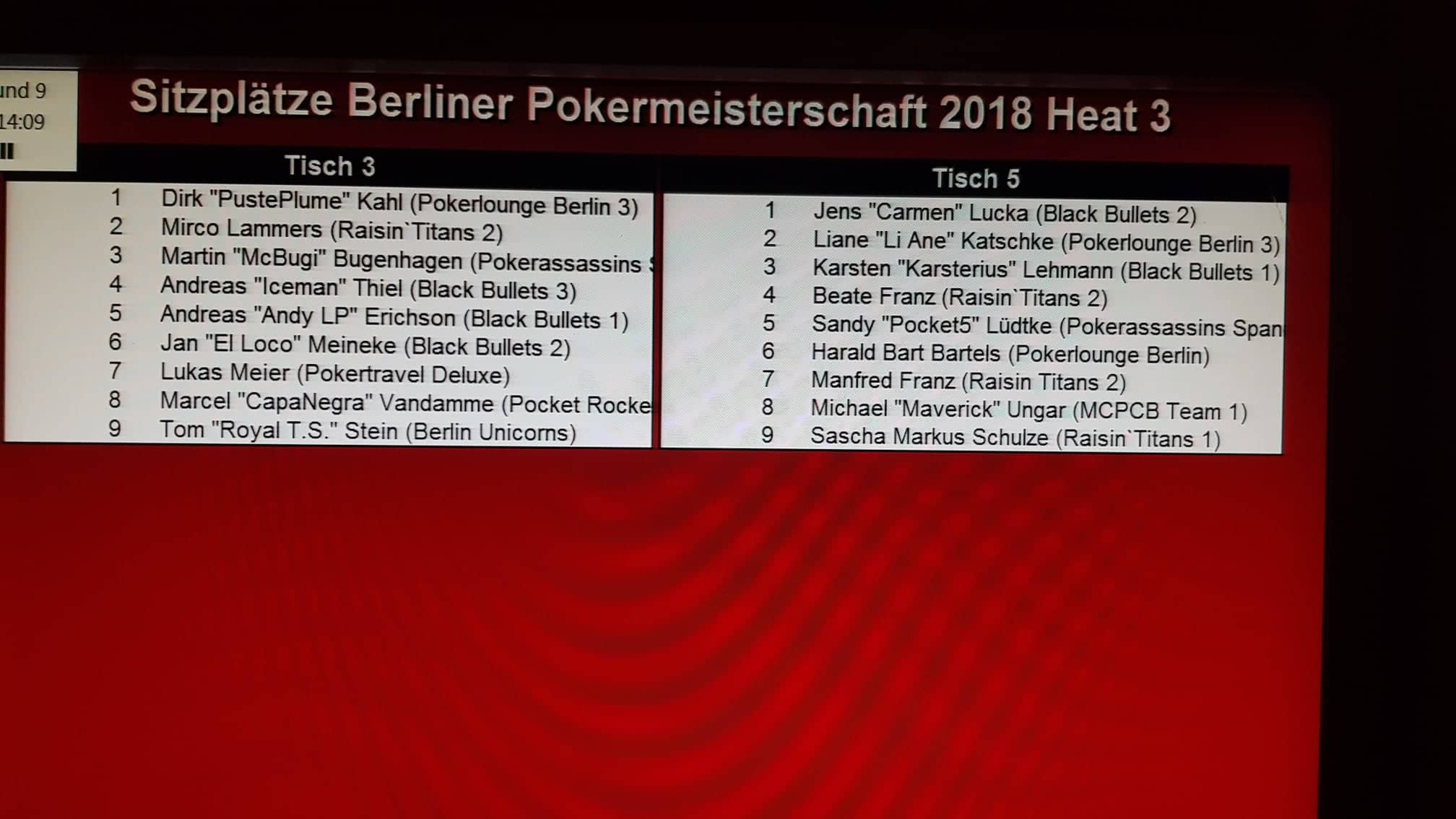 Ende PVB-Pokereinzelmeisterschaft 2018 Heat 3