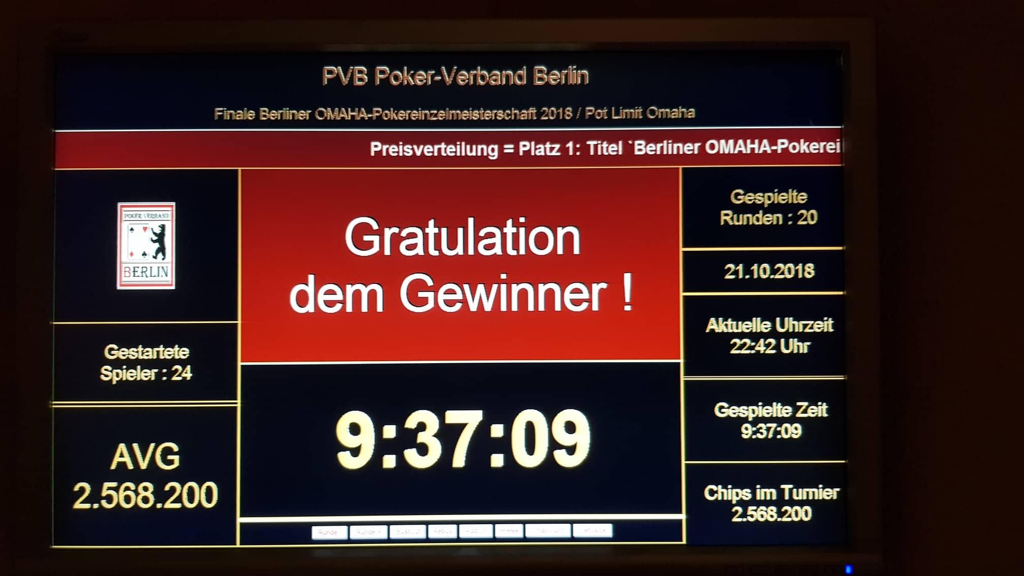 PVB-Omaha-Pokereinzelmeisterschaft 2018 : Der Endstand