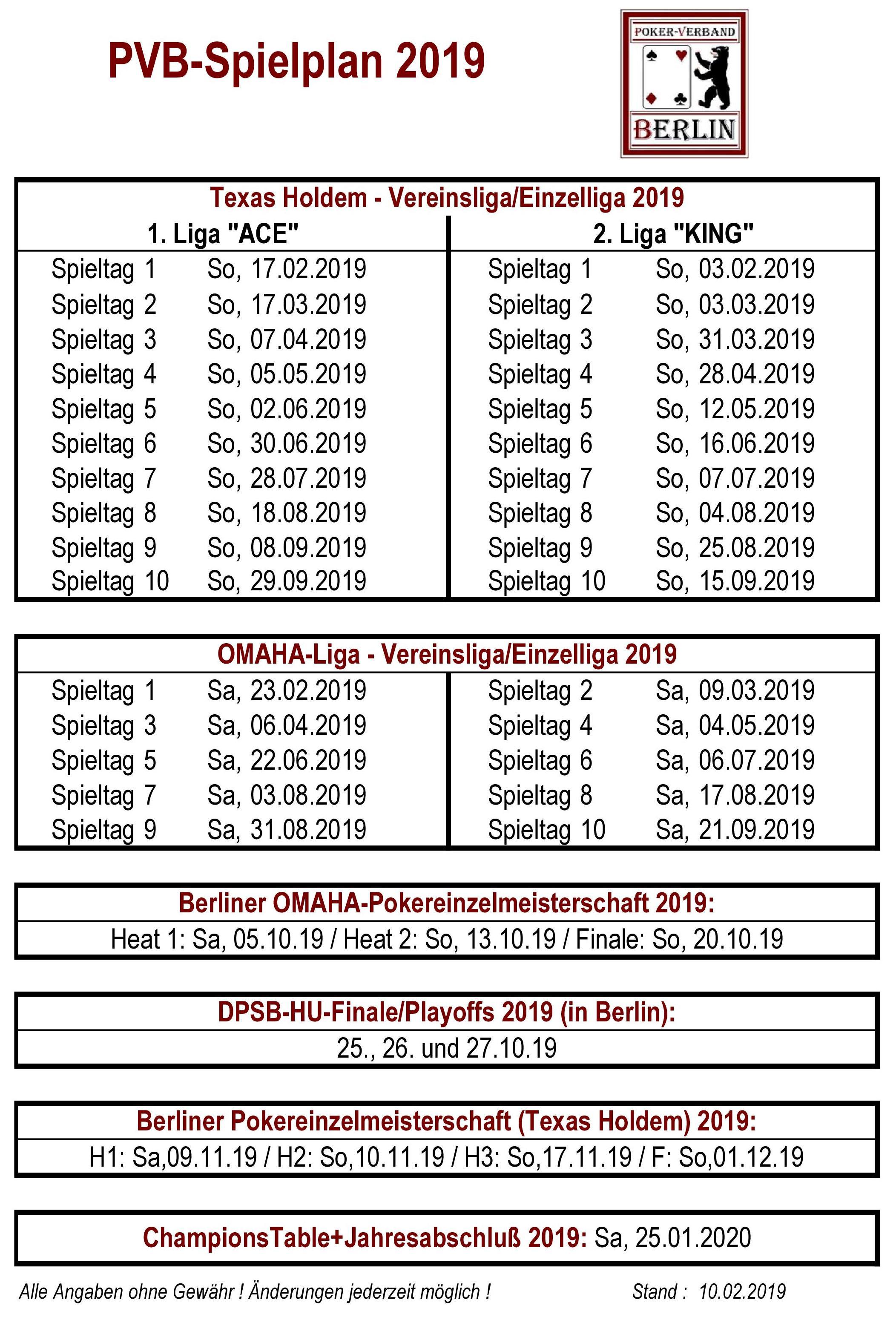 PVB-Spielplan 2019