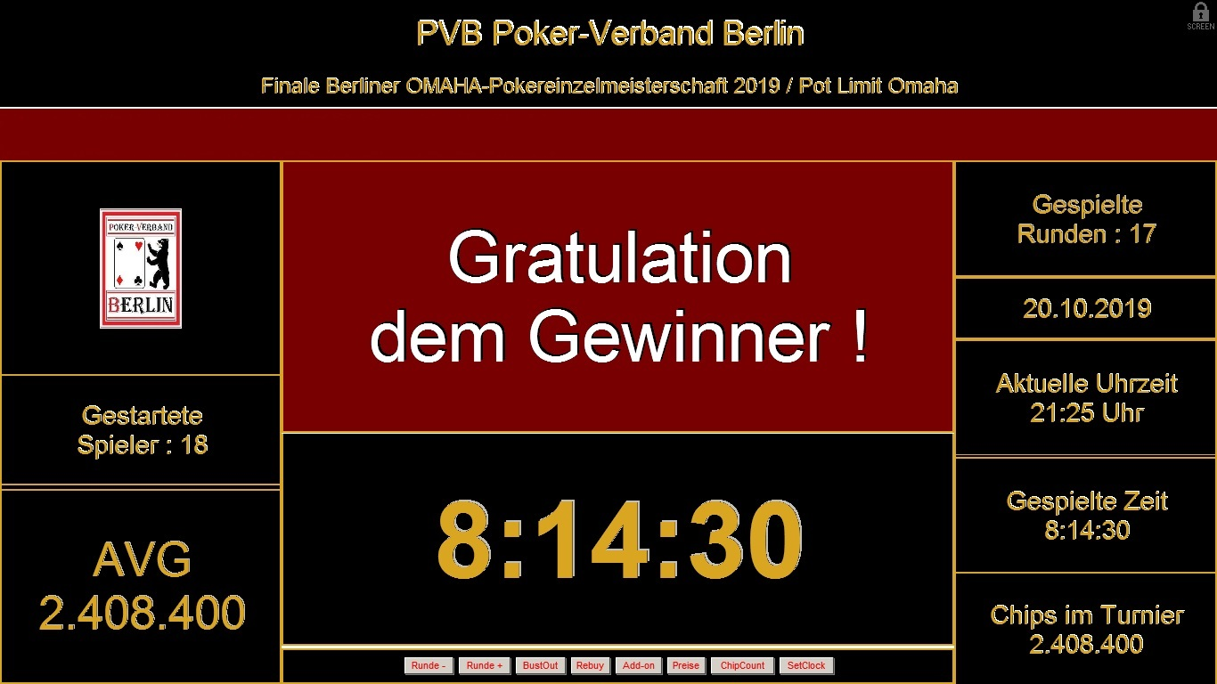 Finale der PVB-Omaha-Pokereinzelmeisterschaft 2019 / Der Endstand