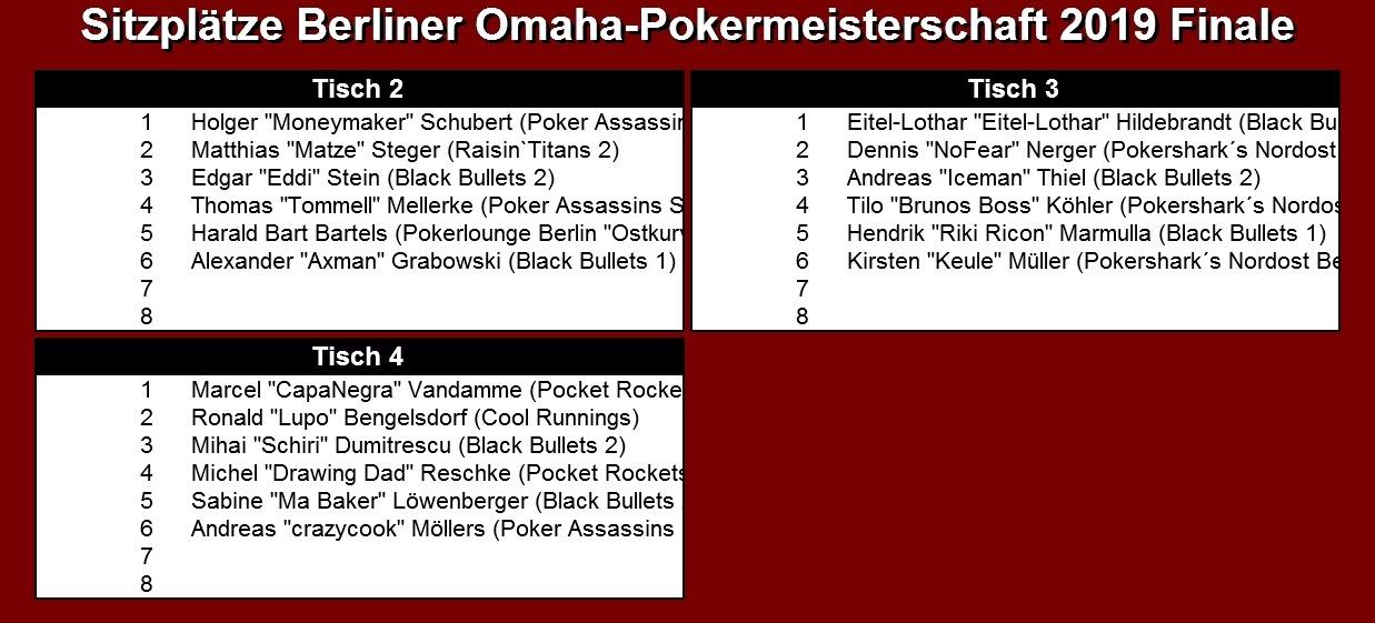 Finale der PVB-Omaha-Pokereinzelmeisterschaft 2019 / Sitzplätze