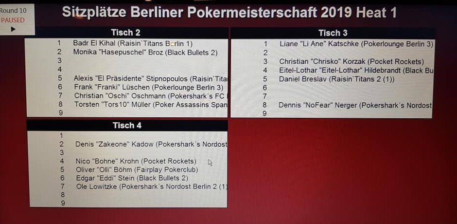 Ende PVB-THNL-Pokereinzelmeisterschaft 2019 Heat 1