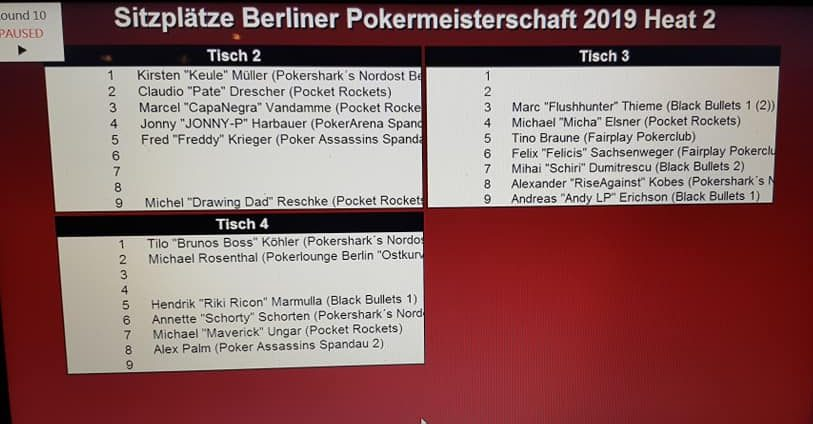 Ende PVB-THNL-Pokereinzelmeisterschaft 2019 Heat 2