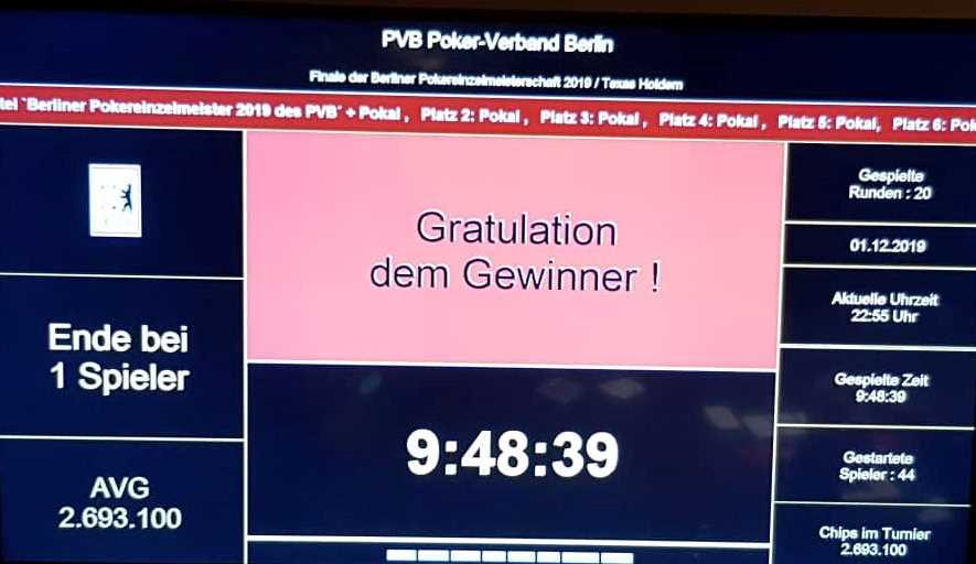 PVB-THNL-Pokereinzelmeisterschaft 2019 - Endstand